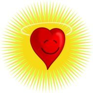 heart glows with a yellow light cartoon drawing