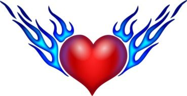 red heart in blue flame