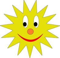 Smiling yellow sun clipart