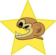 crazy angry chimp in star drawing