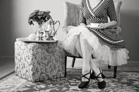 tea party in black and white