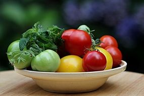 colorful tomatoes on a plate