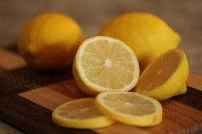 citrus fruit lemon kitchen yellow slices juicy