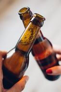 two beer bottles clinking after a toast