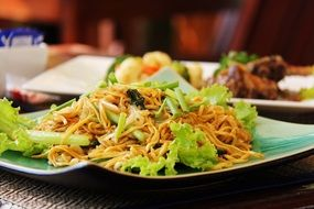 delicious spicy asian cusine noodles