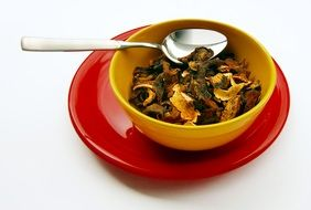 Stew in a yellow plate
