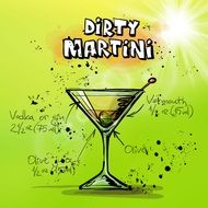 dirty martini recipe as a picture with green layout