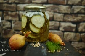 cucumbers pickles in a jar