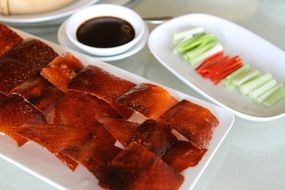 Chinese roasted duck with vegetables and soy sauce