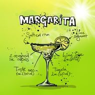 alcohol margarita cocktail with ingredients