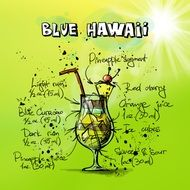 blue hawaii cocktail drawing
