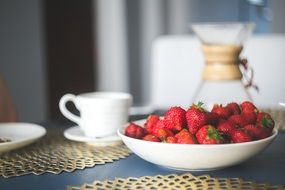 small strawberries on a plate and a cup served for breakfast
