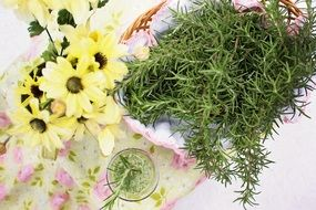 rosemary herb food healthy yellow flowers