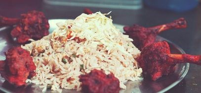 indian cusine rice with spicy meat