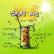 salty dog cocktail drink drawing