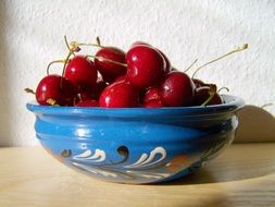 bright red sour cherries in a blue wooden bowl