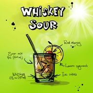 "recipe cocktail ""whiskey sour"" is drawn in the picture"