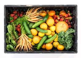 box of vegetables and fruits
