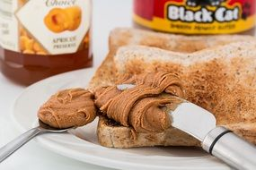 peanut butter on a toast