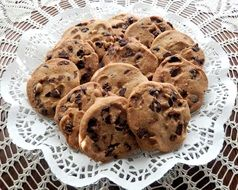 cookies with chocolate on a white napkin