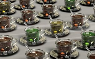 variety of tea in glass cups