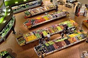 department with fruits and vegetables in the supermarket