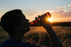 drinking beer bottle alcohol sunset panorama