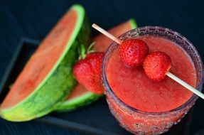delicious watermelon and strawberry smoothie