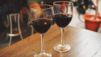 two red wine glasses outdoor