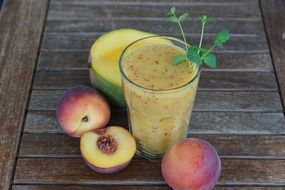 smothie fruit drink glass healthy peach herb