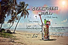 recipe of the cocktail Strawberry Mojito, its summer colors