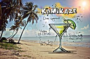 recipe of the cocktail Kamikaze, its summer colors