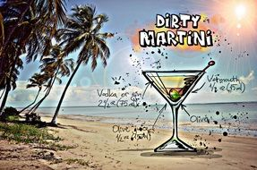 recipe of the cocktail Dirty Martini, its summer colors