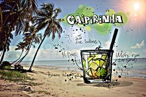 recipe of the cocktail Caipirinha, its summer colors