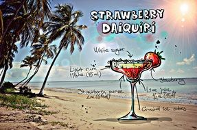 recipe of the cocktail Strawberry Daiquiri, its summer colors