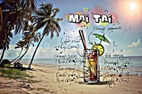recipe of the cocktail Mai Tai, its summer colors