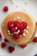 Raspberries on a pancakes