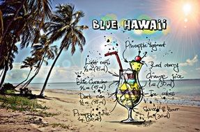 recipe of the cocktail Blue Hawaii, its summer colors