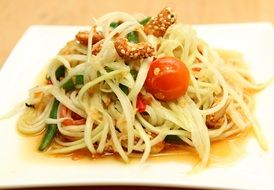 green papaya salad and pasta