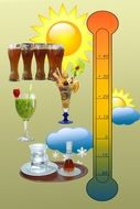 thermometer, drinks and weather icons