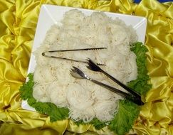 rice noodles in a plate