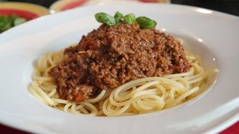 delicious spaghetti Bolognese is on a plate