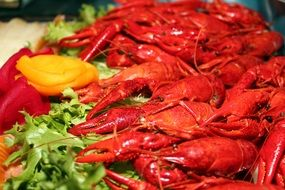 boiled crayfish with vegetables and herbs