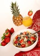 muesli with fruit in a plate