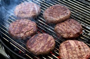 cooking of rissoles on the grill
