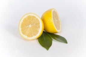 sliced lemon and two green leaves
