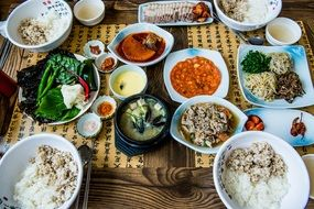 different delicious dining food korean