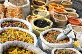 variety of indian spices in the market