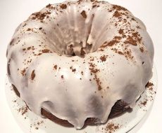 chocolate cake in icing-sugar