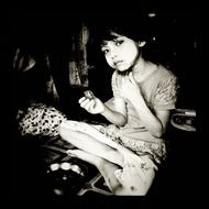 girl eat monochrome photo